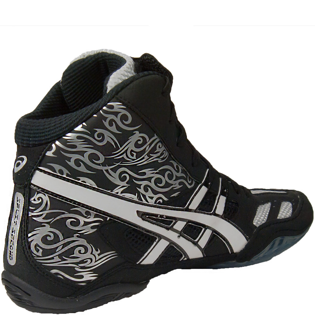 all white asics split second wrestling shoes