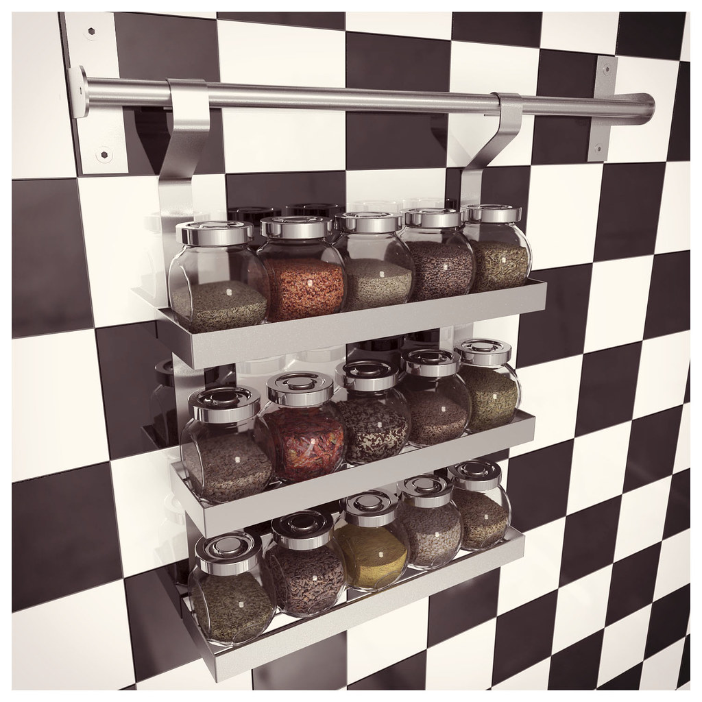 Ikea grundtal spice shelf with rajtan spice jars gyf a m for Ikea grundtal spice rack