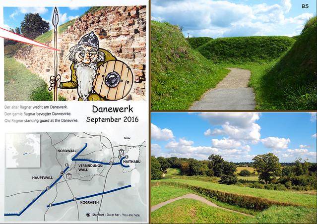 Deutsch-dänische Geschichte ... Mittelalter ... Danewerk ... Dannewerk ... Museum, Archäologischer Park ... Waldemarsmauer ... Haithabu ... Fotos und Collagen: Brigitte Stolle, September 2016