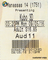 Kubo and the Two Strings ticketstub