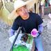 Green Pinipig seller in La Trinidad, Benguet