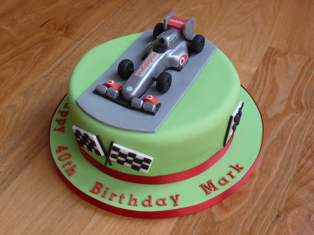 F1 Car Cake Topper This is an F1 themed 40th birthday cake Flickr