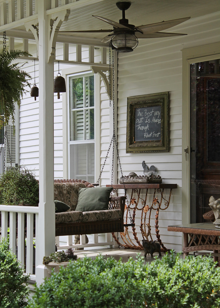 Southern Front Porch I Love The Chalkboard And The Fan