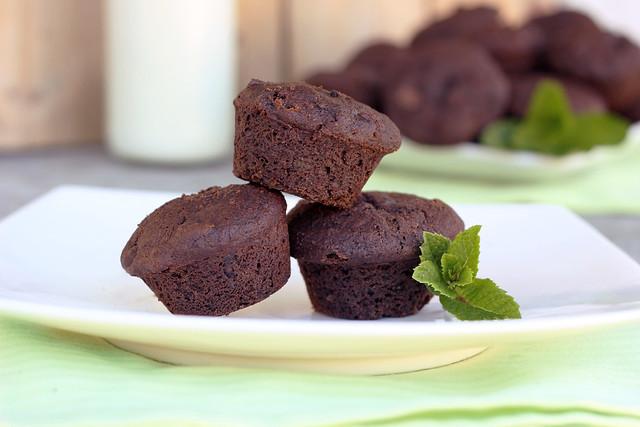 Mint Chocolate Chip Brownie Bites - Gluten-free + Vegan