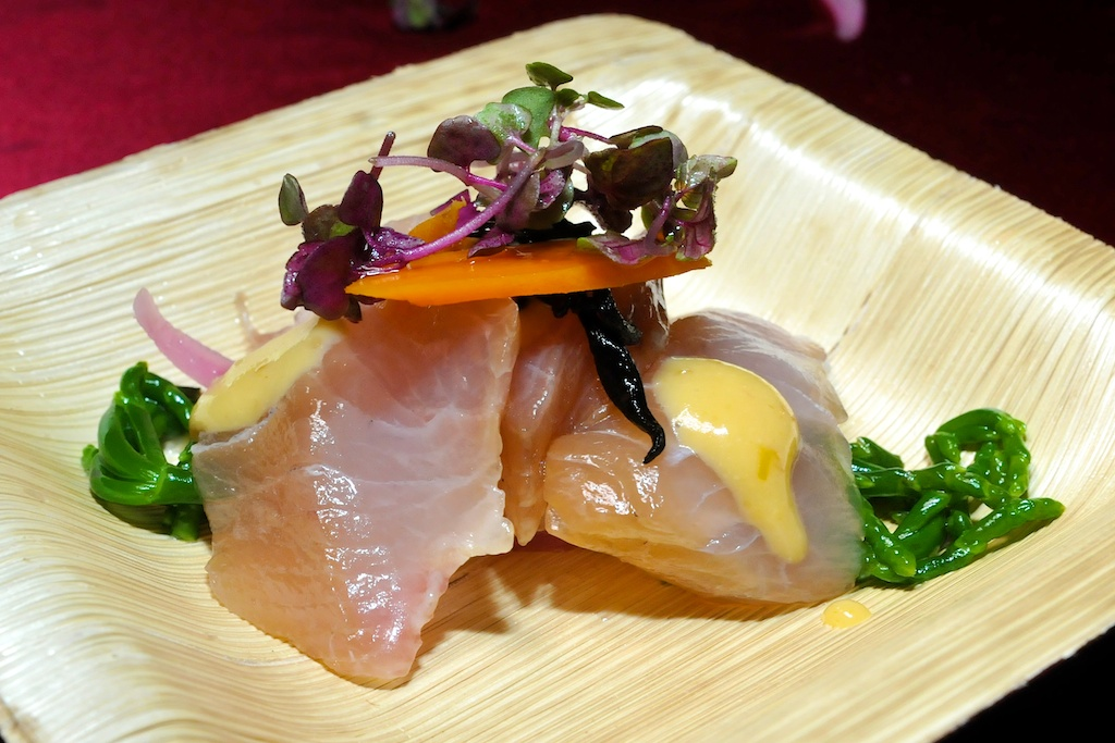 Chef Rubino Pairing of Kampachi Sashimi with Oshinko and M ...