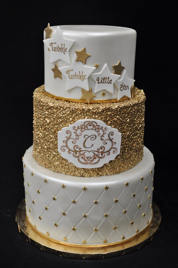 Light Blue And Gold Baby Shower Cake