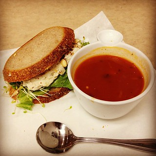 Day#326 - Chicken Salad Sandwich and Tomato Basil Soup | by likeherod