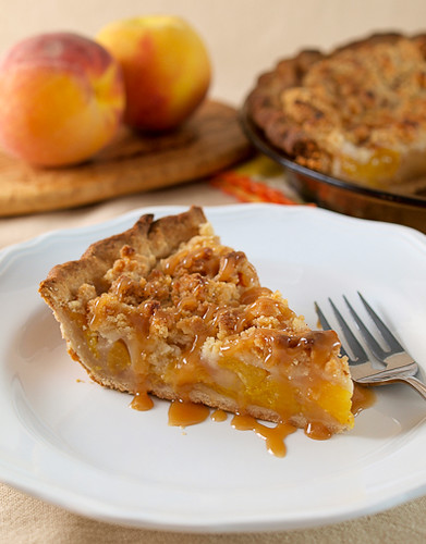 Salted Caramel Peach Crumble Pie | by EvilShenanigans