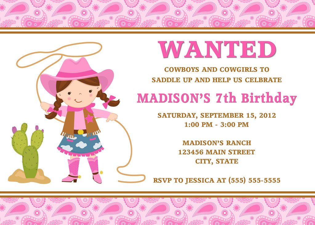 Cowgirl Birthday Invitation I have many more color options Flickr