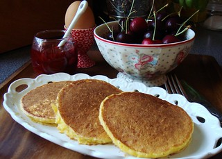 Corn Pancakes with Strawberry Guava Syrup | by ComeUndone