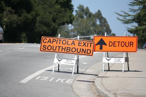 Detour signs block bike lane *and* sidewalk