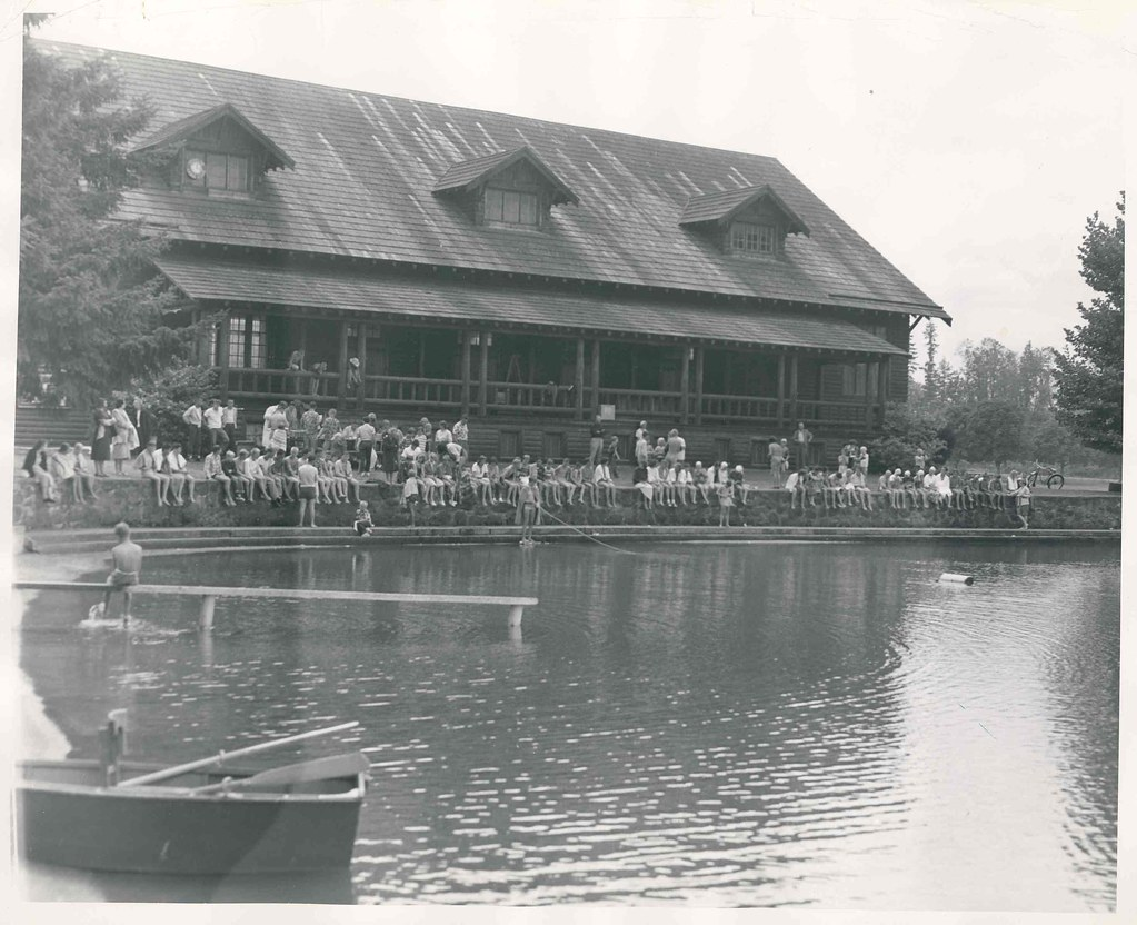 "Enumclaw Fieldhouse, 1953 | ""Swimming teams representing ..."