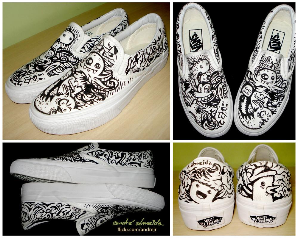 White Vans Drawings Monsters Vans Custom | by