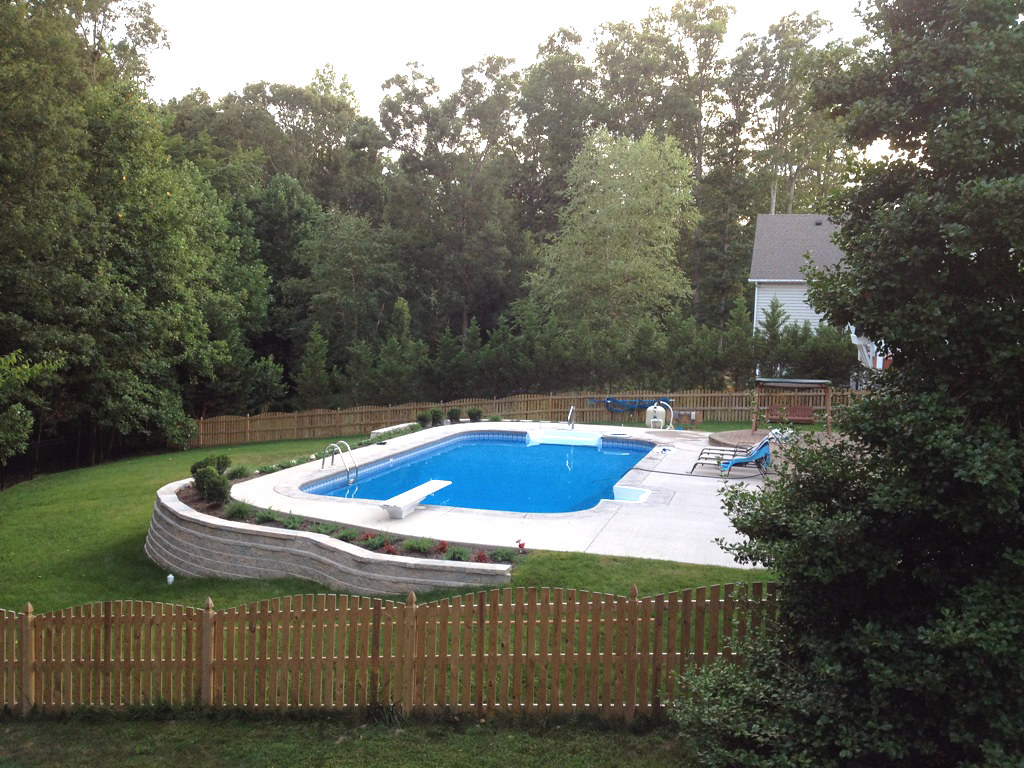 Inground Swimming Pool Rectangle 4ft Radius Concrete Deck