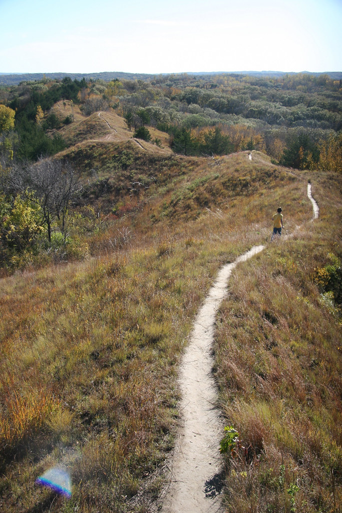 This winding ridge-top trail offers panoramic views of the Loess Hills landform, plus up-close contact with the diverse and unique flora and fauna of this semi-arid region. Loess Hills Scenic Byway