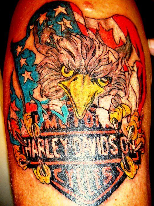eagle harley davidson tattoo flower tattoos tattoo girlie flickr. Black Bedroom Furniture Sets. Home Design Ideas