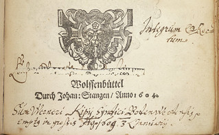Ms. ownership inscription of Wernerus Kipius of Bodenwerder, Germany (including date of purchase), preceded by evidence of another ms. inscription excised from leaf. Woodcut title ornament, used by Johann Stange of Wolfenbüttel | by Provenance Online Project