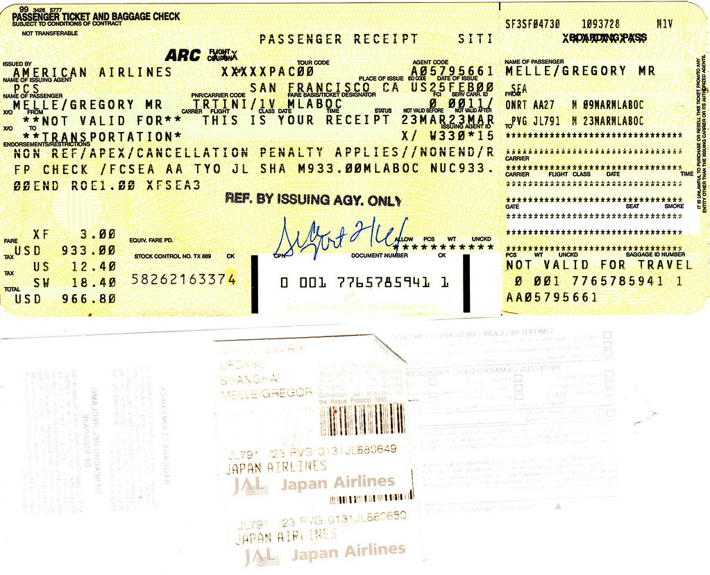 Jl 2000 03 09 Japan Air American Ticket Baggage Check Flickr