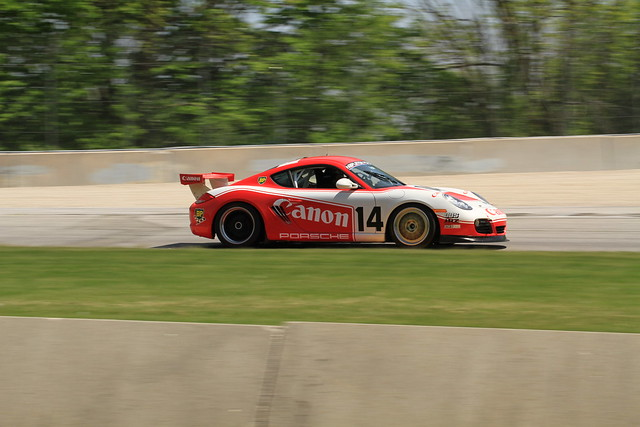 Road America - 2012 Spring Vintage Weekend - Cayman S Sporting a Livery Inspired by the Canon Porsche 956 (Going through Turn 1)