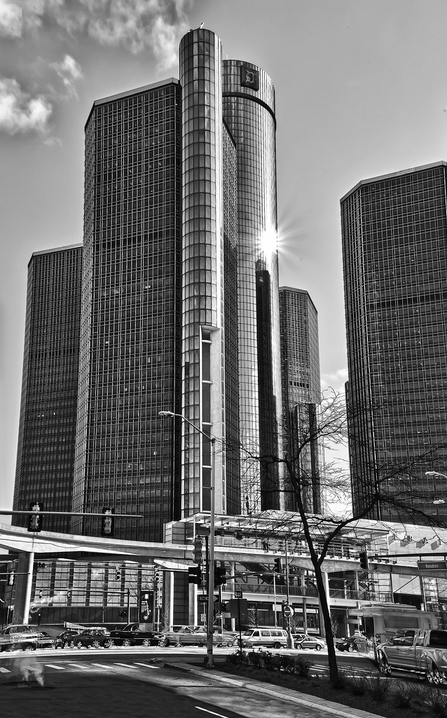 Detroit Ren Cen In Black And White View On Black The