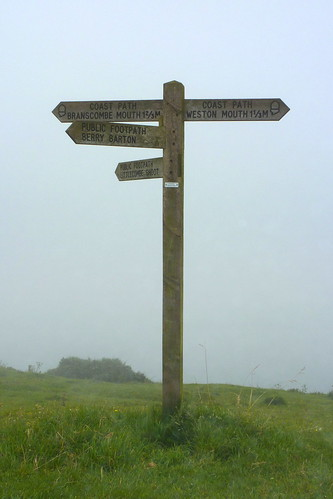 Devon - cliff signpost in mist | by muffinn