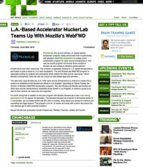 TechCrunch: L.A.-Based Accelerator MuckerLab Teams Up With Mozilla's WebFWD (06/28/2012)