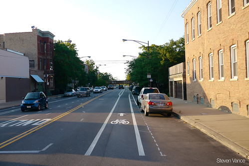 Elston Avenue bike lane | by Steven Vance