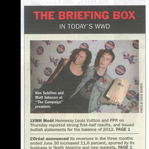 Rockin a bag of popcorn on the red carpet in WWD. | by matt and kim