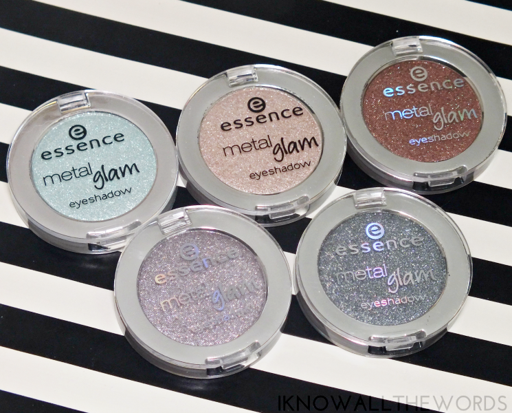 essence metal glam eyeshadows sugar mint candy, hello goldie, choco-chick, are you grey, sparkle all night (5)