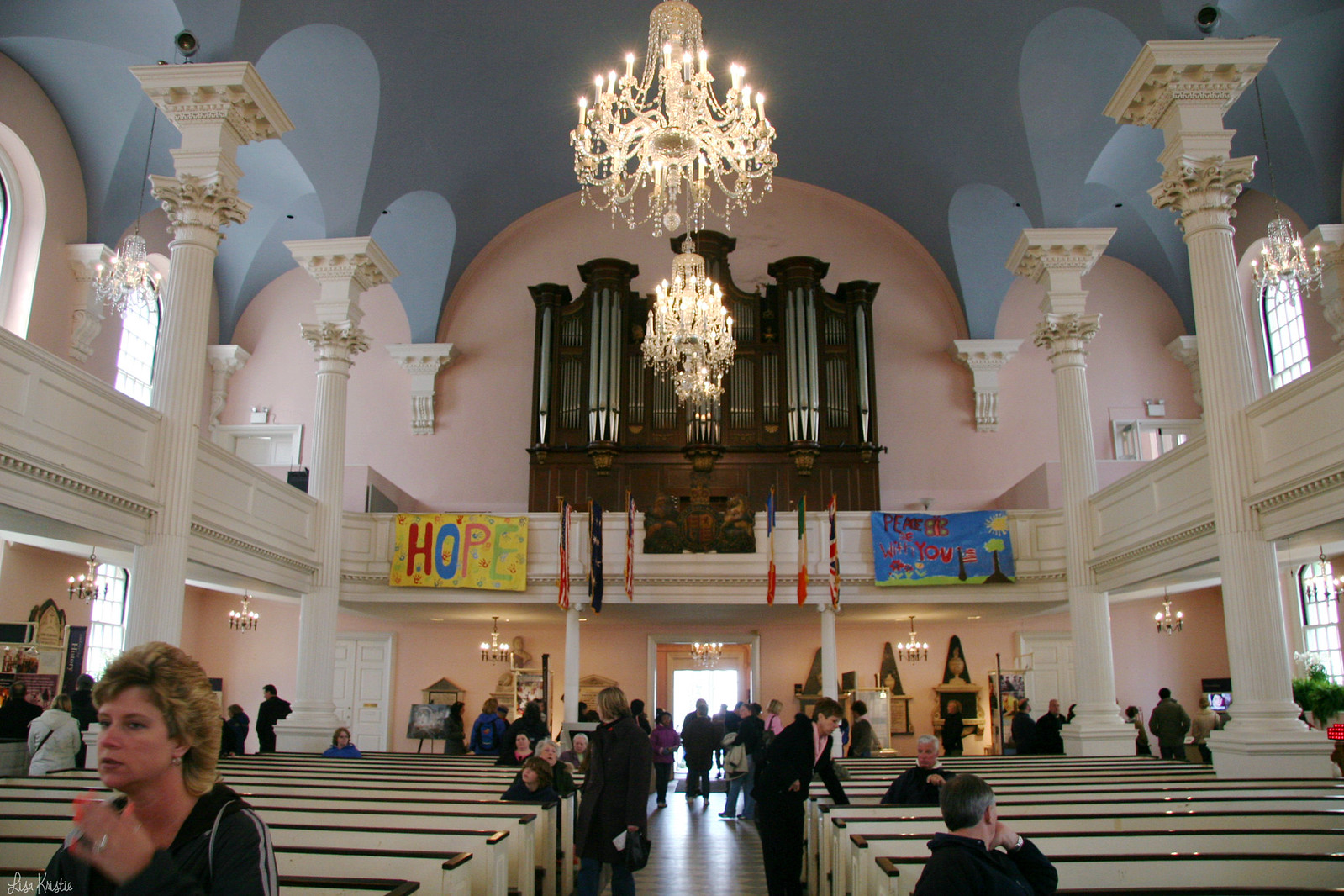 Saint Paul's chapel church lower manhattan new york city inside organ inside interior pink blue tourists spring april 2007