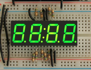 "Green 7-segment clock display - 0.56"" digit height 