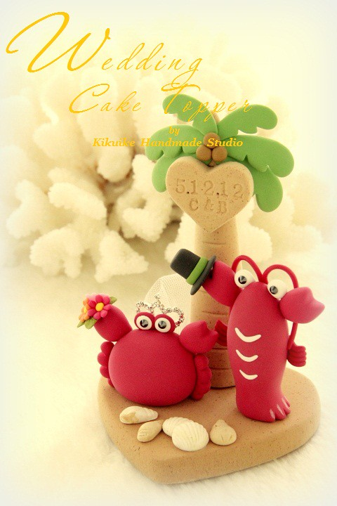 Wedding Cake Topper-love Crab and lobster with palm | Flickr