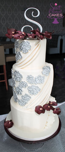 wedding cake with purple calla lilies ivory fabric inspired purple calla wedding cake flickr 26945