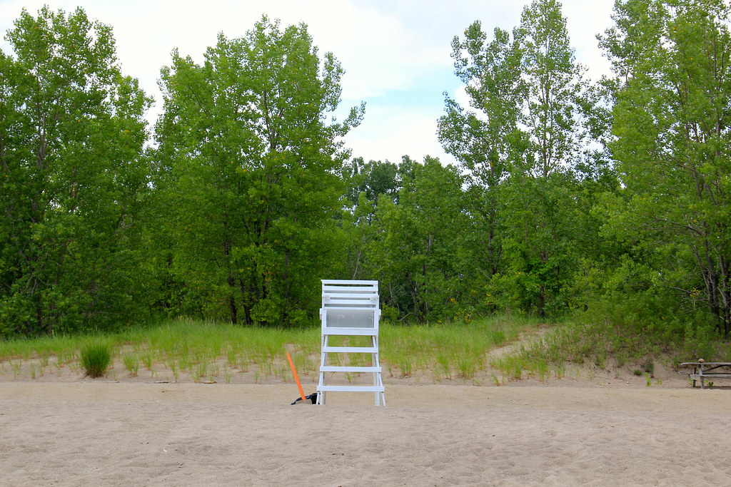 Empty beach and lifeguard | @ Presque Isle State Park ...