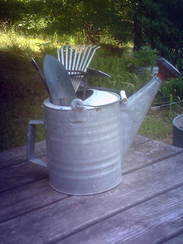 Garden tools in watering can want to see what 39 s hot in for Gardening tools watering