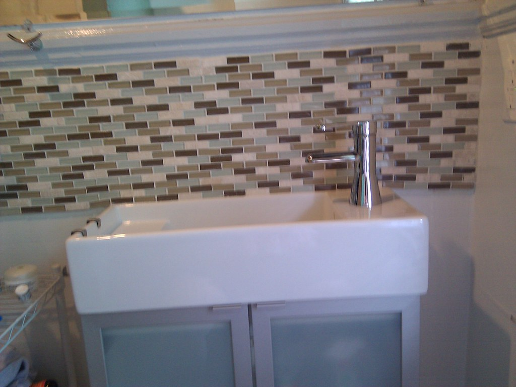 Bathroom Sink Backsplash | It came out ok, I probably ...