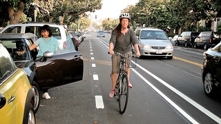 My Neighbor Heather Rides 14th St. Buffered Bike Lane In Santa Monica | by Gary Rides Bikes