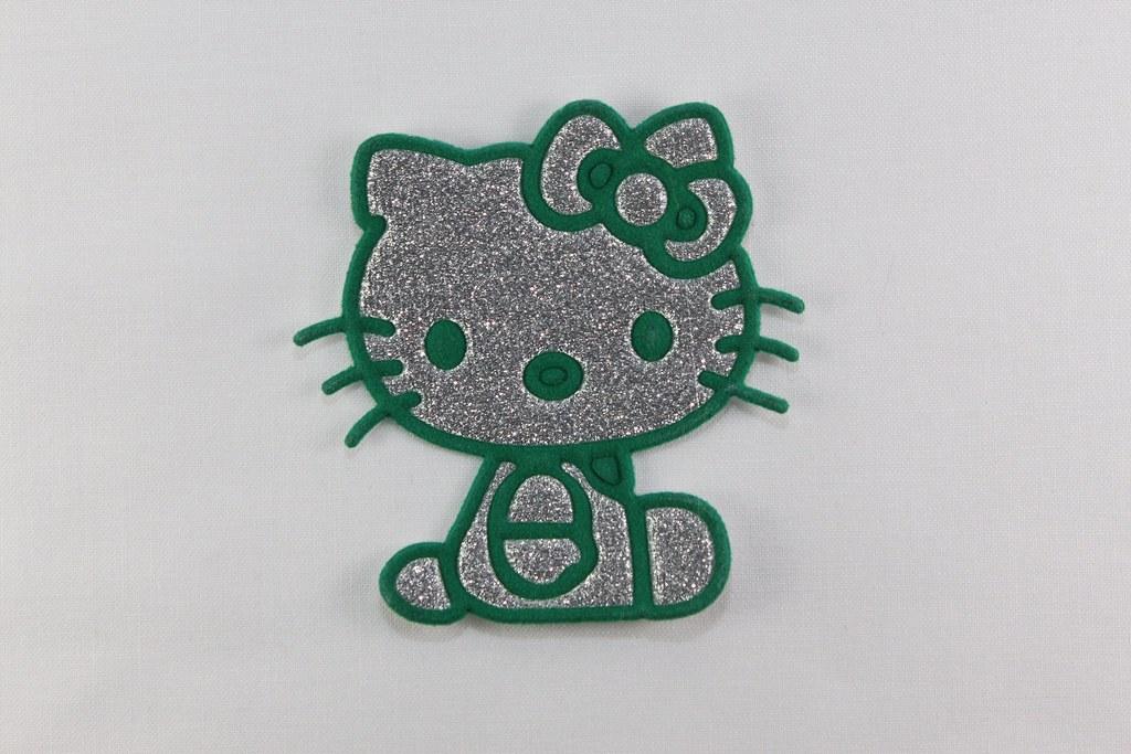 Aufbügler Hello Kitty, silber-grün