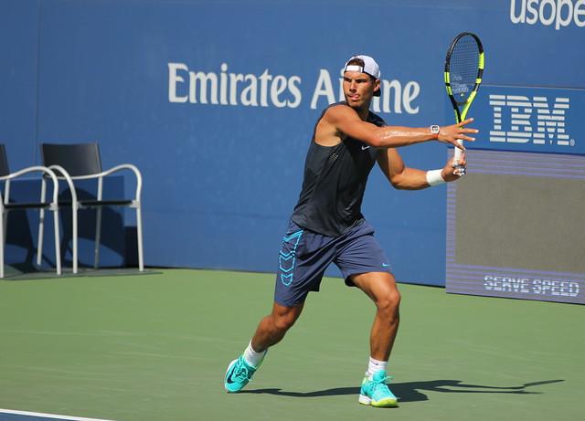 Rafael Nadal at practice, 2016 US Open
