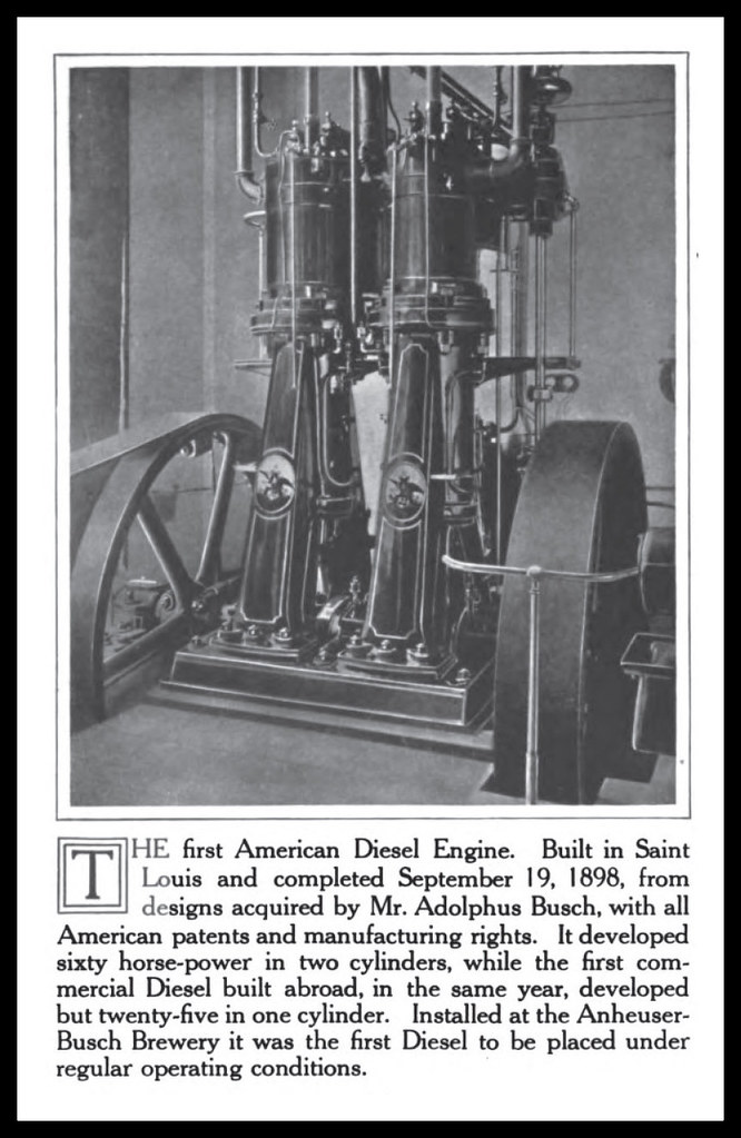 first diesel engine. Interesting First 1913 First American Built Diesel Engine St Louis 1898 Adolphus Busch   By Carlylehold For Engine