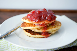 cornmeal ricotta pancakes with strawberry rhubarb compote | by sassyradish