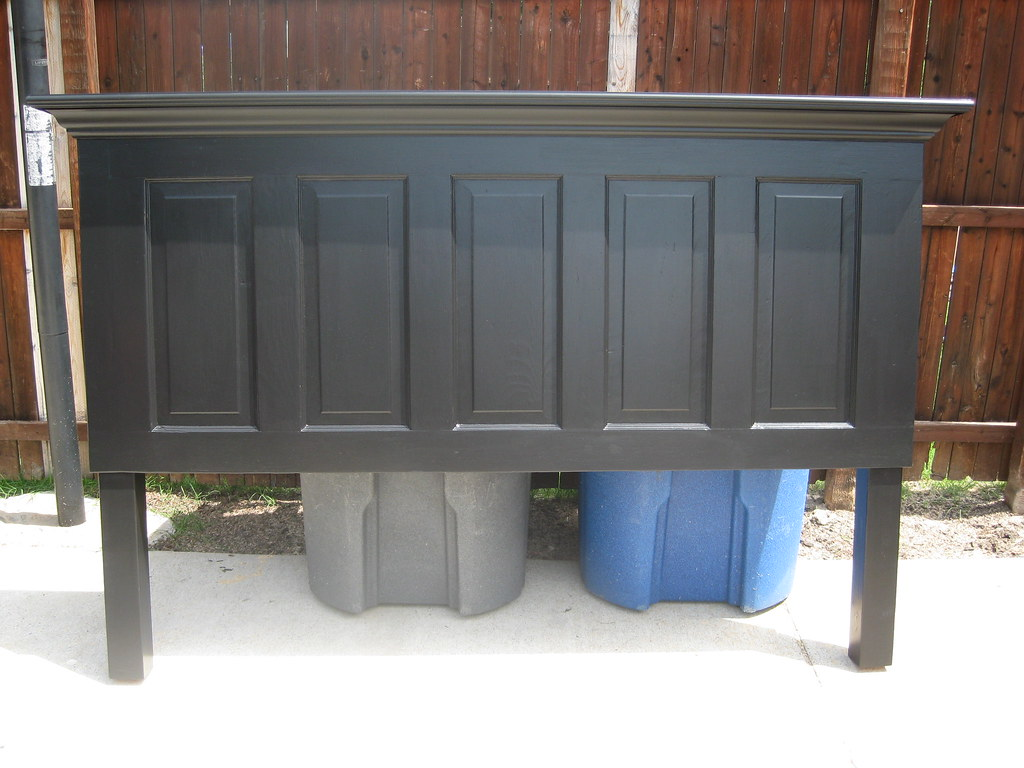 5 Panel Old Door Headboard Painted Satin Onyx Black By Vin