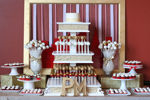 Red Gold And White Wedding Dessert Table The Full