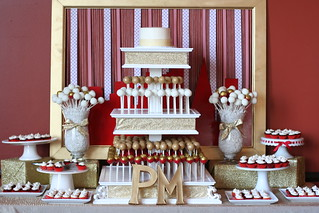 Red, Gold, and White Wedding Dessert Table | by Sweet Lauren Cakes