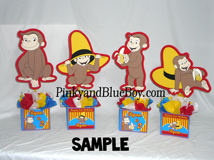 Curious george birthday decorations handmadecenterpiecs se