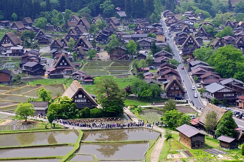 """Shirakawa-go"" world heritage is a rice-planting season. 