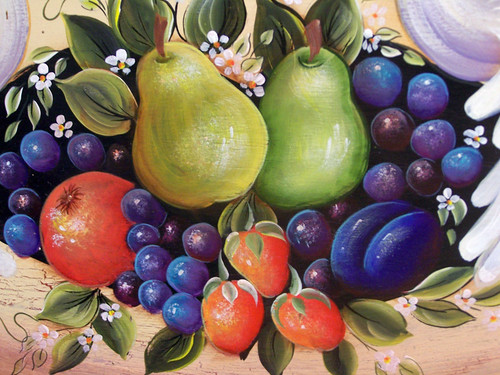 Close-up of Doves & Fruits on Oval Plaque | by Orna's Art