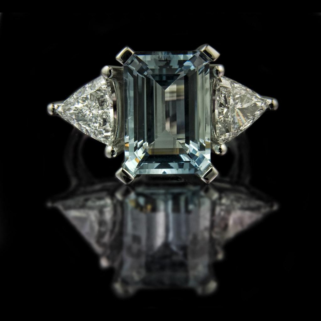 Emerald Cut Aquamarine Engagement Ring With Trilliant Cut