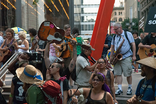 Occupiers Jamming along with Woodie Guthrie songs in Zuccotti Park | by juliacreinhart