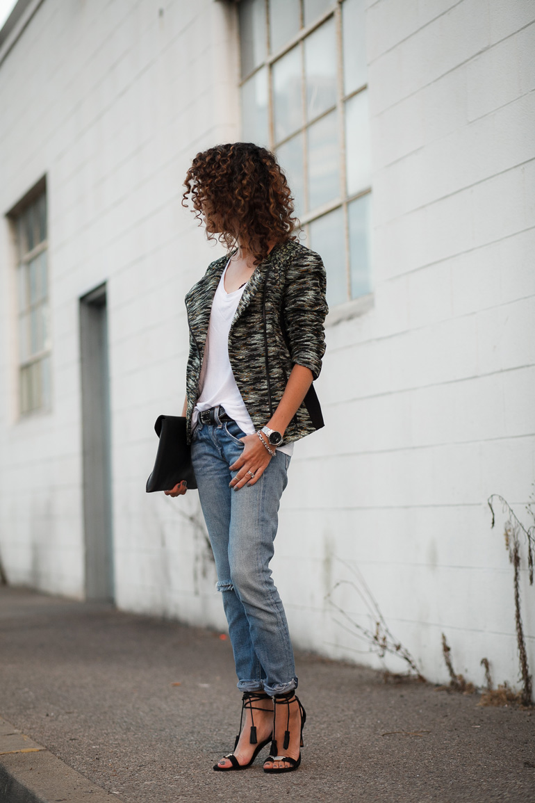 Lace Paneled Moto Jacket
